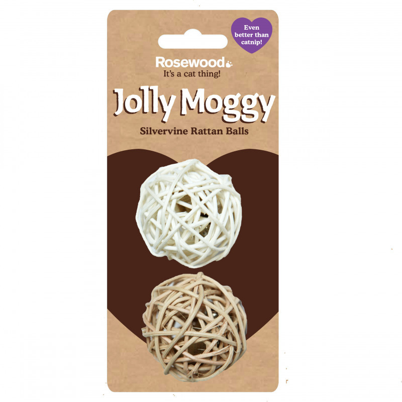 Rosewood Jolly Moggy Cat Toy Silvervine Rattan Balls