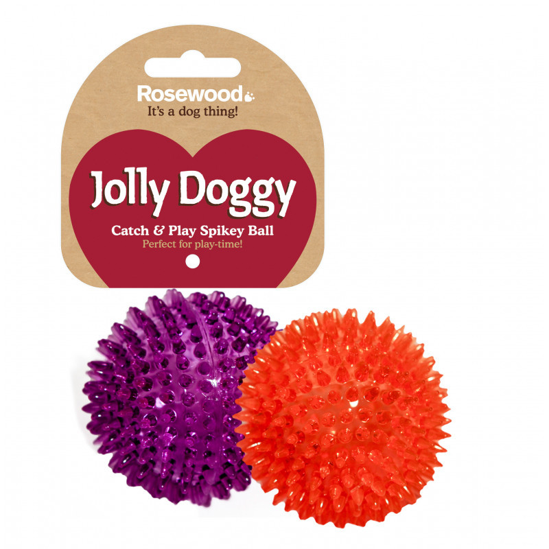 Rosewood Jolly Doggy Spikey Ball Dog Toy 8cm