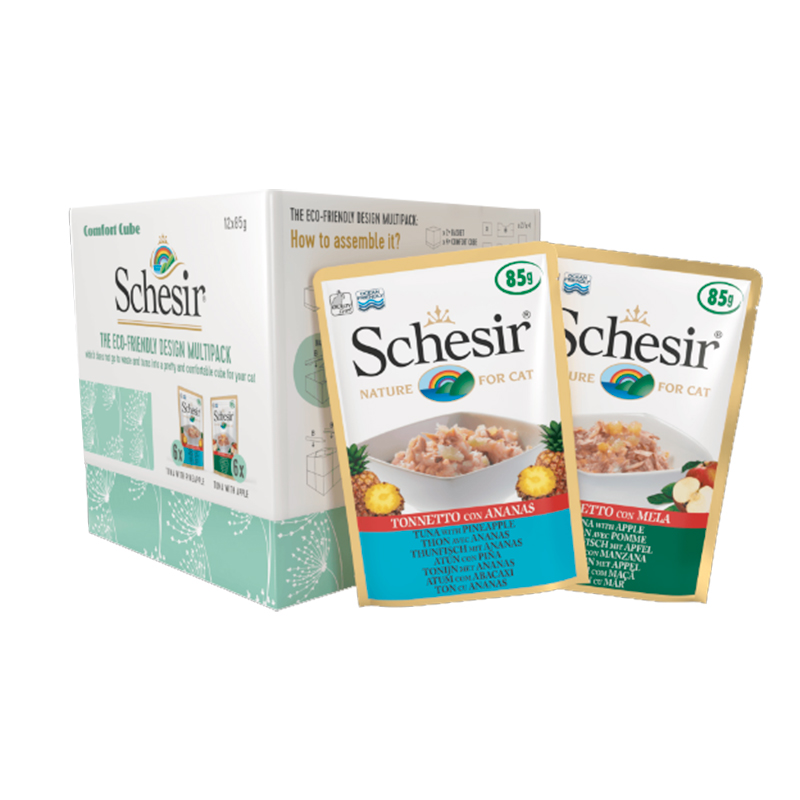 Schesir Multipack On Cat Tuna with Pineapple and Tuna with Apple 12x85gr