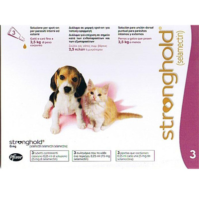 Antiparasitic Stronghold for dogs and cats up to 2,5Kg 15mg