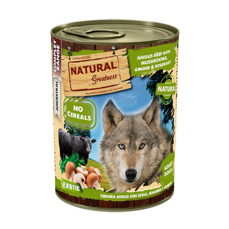 Natural Greatness Angus Beef with Mushrooms,Ginger & Rosemary. Wet Food Dog